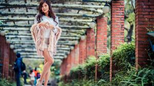 Asian Model Women Long Hair Dark Hair Passage Shoes Bushes Depth Of Field Short Skirt Pullover Scarf 3840x2561 Wallpaper