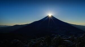 Nature Landscape Sky Mountains Snowy Peak Plants Mist Sun Sun Rays Clear Sky Sunrise Mount Fuji Yama 1920x1080 Wallpaper
