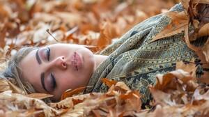 Fall Foliage Girl Leaf Lying Down Mood Woman 2048x1365 Wallpaper