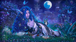 Taisa Kislova Fantasy Art Digital Art Blue Hair Butterfly Moonlight Asian Architecture Garden Candle 1920x1124 Wallpaper