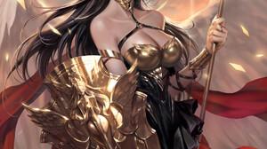 Nessi Drawing Women Brunette Long Hair Wind Angel Armor Gold Shield Wings Sparks 1920x2716 Wallpaper