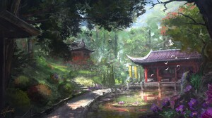 Garden Digital Painting ArtStation Nature Asian Architecture 1920x1080 Wallpaper