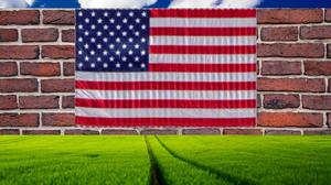 Bricks Wall Clouds USA Stars And Stripes Propaganda 1280x853 Wallpaper