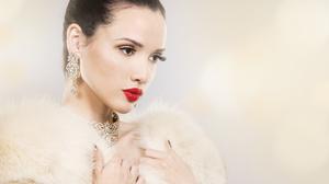Brown Eyes Brunette Earrings Face Girl Jewelry Lipstick Model Woman 4890x3198 Wallpaper