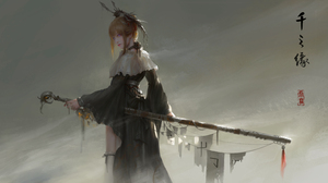 Black Dress Blonde Dress Headdress Original Anime Purple Eyes Sword Warrior Weapon Woman 8504x4762 Wallpaper