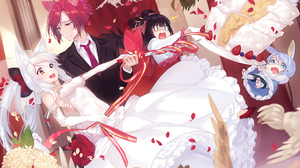 Bride Cake Wedding Groom Animal Ears White Hair Pink Hair 1920x1357 Wallpaper