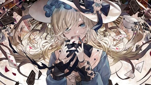 Anime Anime Girls Long Hair Blonde Alice Aqua Eyes Gloves Hat Cards Roses Chess 2666x1595 Wallpaper