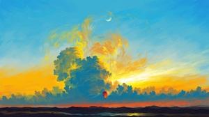 BisBiswas Digital Art Illustration Artwork Landscape Clouds Hot Air Balloons Mountains Sky Moon 1920x1080 Wallpaper