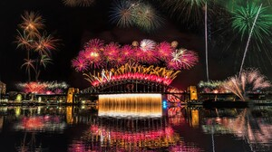 City Colorful Fireworks Night Sydney Sydney Harbour Bridge 1920x1200 wallpaper