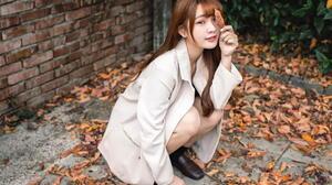 Asian Model Women Long Hair Dark Hair Depth Of Field Leaves Black Socks Jacket Painted Nails Bricks  1920x1280 Wallpaper