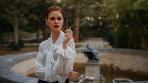 Women Viktoria Ageeva Brunette Makeup Looking Away Cigarettes White Clothing Depth Of Field Lipstick 2024x1139 Wallpaper