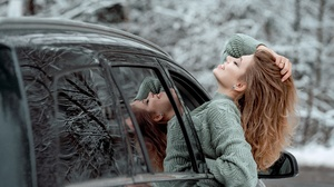 Women Car Women With Cars Vehicle Closed Eyes Reflection Long Hair Smiling Hands In Hair Sweater 2500x1666 Wallpaper