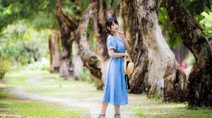 Asian Model Women Women Outdoors Long Hair Dark Hair Barefoot Sandal Grass Trees Blue Dress Straw Ha 3840x2559 Wallpaper