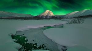 Aurora Borealis Nature Night Sky Snow Winter 1920x1428 Wallpaper