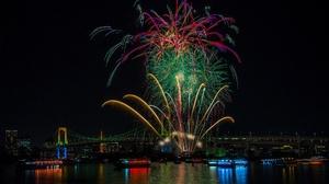 Fireworks Japan Night Rainbow Bridge Tokyo 2048x1463 wallpaper