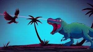 Digital Digital Art Artwork Illustration Trees Palm Trees Tyrannosaurus Rex Raven Laser Laser Eyes I 3440x1440 Wallpaper