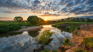 Landscape Clouds Sky Sunrise Horizon Trees Nature Water River Reflection 2200x1412 Wallpaper
