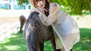 Asian Model Women Long Hair Dark Hair Straw Hat Leaning Horse White Skirt Blouse Jacket Grass Depth  2560x3840 Wallpaper