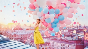 Balloon Girl Model Woman Yellow Dress 2000x1593 Wallpaper