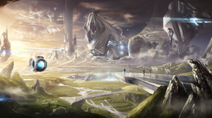 Video Game Halo Landscape Spaceship People 2277x1080 Wallpaper