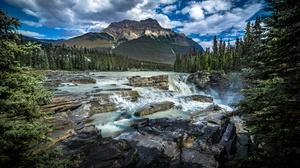 Alberta Athabasca Falls Canada Canadian Rockies Jasper National Park Mountain River Waterfall 5945x3591 Wallpaper