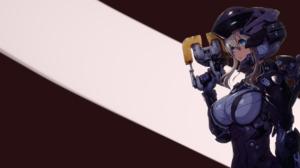 Anime Dead Space White Hair Armor Futuristic Blue Eyes 2560x1440 Wallpaper