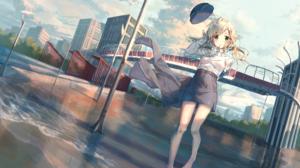 Hat Uniform Blonde Green Eyes Bridge Water Girl 2000x1414 Wallpaper