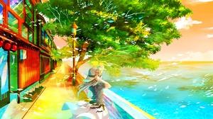 Blush Dress Flower Hat Landscape Long Hair Scenic Tree Water White Hair 1826x1200 Wallpaper