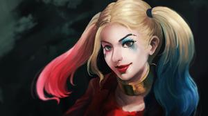 Blonde Dc Comics Face Girl Harley Quinn Lipstick Twintails 2155x1059 Wallpaper