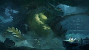 Yiming Nie Digital Art Fantasy Art Dragon Ruin Creature 1920x1027 Wallpaper