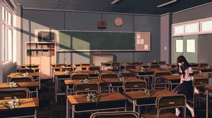 Black Hair Classroom Clock Flower Long Hair Television 3932x2901 Wallpaper