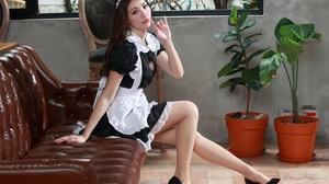 Asian Model Women Long Hair Dark Hair Maid Sitting Couch Black Heels Chair Plants Flowerpot Maid Out 3840x2707 Wallpaper