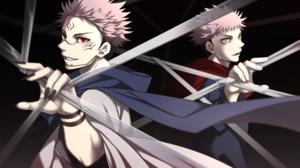 Yuji Itadori Pink Hair Boy Sukuna Jujutsu Kaisen Red Eyes 2000x1320 wallpaper