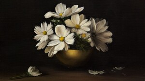 Bowl Flower Painting Still Life White Flower 1920x1185 Wallpaper