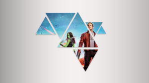 Chris Pratt Gamora Guardians Of The Galaxy Marvel Comics Peter Quill Polyscape Shapes Star Lord Zoe  3840x2160 wallpaper