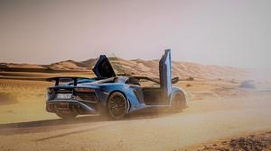 Lamborghini Car Blue Car Sport Car Supercar Desert 3840x2160 wallpaper