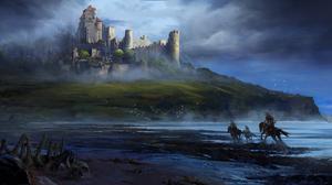 Landscape Artwork Xenzo Castle Knight Illustration 3046x1400 Wallpaper