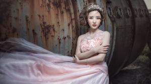 Dress Women Brunette Asian Model Arms Crossed Makeup Looking At Viewer Lipstick Pink Dress Women Out 1920x1235 Wallpaper