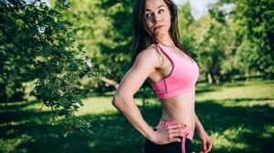 Women Model Hands On Hips Gym Clothes Portrait Looking Away Women Outdoors 2560x1707 Wallpaper