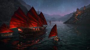 Artwork Fantasy Art Ship Sailing Ship Asian Asian Architecture River Night Stars 1920x1080 Wallpaper