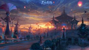 Jun Zhang Fantasy Art Digital Art Asian Architecture Landscape Sunset Sunrise Birds 1920x1001 wallpaper