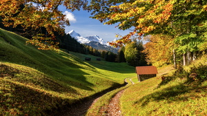 Nature Landscape Trees Dirt Road Fall Cabin Mountains Leaves Snowy Peak Grass Hill Forest Bavaria Ge 6144x4096 Wallpaper