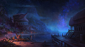 Chris Karbach Digital Art Fantasy Art Starry Night Boat Palm Trees Tropical Island 1920x854 Wallpaper