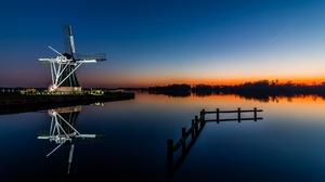 Building Reflection Sunrise Windmill 2048x1365 Wallpaper