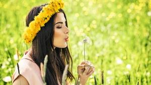 Brunette Dandelion Depth Of Field Flower Girl Model Mood Summer Woman Wreath 6144x4096 Wallpaper