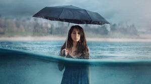 Women Rain Umbrella Underwater Women With Umbrella In Water Dress 2560x2200 Wallpaper