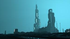 City Landscape Futuristic Building Artwork Tower Blue Science Fiction 4000x2250 Wallpaper