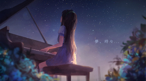 Mes Piano Anime Anime Girls Music Musical Instrument Brunette Sitting Stars Sky Sishenfan 1300x975 Wallpaper