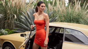 Kendall Jenner Women Model Vehicle Vehicle Interiors Tight Dress Orange Dress Women Outdoors Necklac 3600x2400 Wallpaper