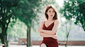 Asian Brunette Depth Of Field Girl Model Red Dress Woman 4500x3002 wallpaper